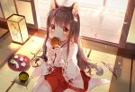 1girl amafuyu animal_ear_fluff animal_ears bangs blush brown_eyes brown_hair cat_ears cat_girl cat_tail closed_mouth commentary cup dango day eating english_commentary eyebrows_visible_through_hair flower food food_in_mouth hair_between_eyes hair_ornament hairclip holding holding_food indoors japanese_clothes kimono lantern long_hair long_sleeves looking_at_viewer on_floor original petals pink_flower pleated_skirt red_skirt ribbon-trimmed_sleeves ribbon_trim sanshoku_dango skirt solo sunlight tail tee thigh-highs tray very_long_hair wagashi white_kimono white_legwear wide_sleeves