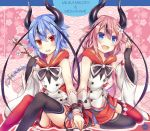 2others :d arm_up black_legwear black_neckwear blue_eyes blue_hair blue_nails bow braid braided_ponytail bridal_gauntlets character_name demon_horns fang fingernails floral_background flower gloves hair_bow hair_flower hair_ornament hands_together head_tilt holding_twig horns looking_at_viewer looking_away meika_hime meika_mikoto mismatched_legwear multiple_others neckerchief nontraditional_miko open_mouth pink_hair pink_nails plum_blossoms ponytail red_eyes red_legwear red_sailor_collar red_skirt ribbon sailor_collar seigaiha siblings single_glove sitting skirt smile tf_(tfx2) thick_eyebrows thigh-highs upper_teeth vocaloid wrist_cuffs wrist_ribbon