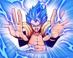 1boy abs blue_eyes blue_hair commentary ditienan_ddn dragon_ball dragon_ball_super dragon_ball_super_broly electricity emphasis_lines gogeta male_focus muscle solo spoilers super_saiyan_blue upper_body vest wristband
