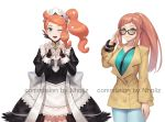 2girls adjusting_eyewear apron artist_name black_gloves blue_eyes bracelet brooch brown_hair commission company_connection cosplay costume_switch creatures_(company) crossed_arms eyelashes felicia_(fire_emblem_if) felicia_(fire_emblem_if)_(cosplay) fingerless_gloves fire_emblem fire_emblem_if game_freak glasses gloves green_eyes hair_ornament heart heart_hair_ornament heart_hands intelligent_systems jewelry light_blush looking_at_viewer maid maid_apron maid_headdress multiple_girls natsuyu nintendo olm_digital one_eye_closed open_mouth pokemon pokemon_(game) pokemon_swsh side_ponytail smile sonia_(pokemon) sonia_(pokemon)_(cosplay) trench_coat
