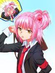 1girl armband cross_hair_ornament hair_ornament highres hinamori_amu necktie pink_hair school_uniform shugo_chara! solo yellow_eyes