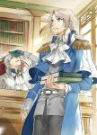 2boys belt black_gloves blue_capelet book bookshelf brooch capelet cravat epaulettes gloves grey_eyes grey_hair grey_pants holding holding_book indoors jewelry light_brown_hair long_sleeves male_focus multiple_boys odayaka_kizoku_no_kyuuka_no_susume. official_art pants ponytail sando_(310_sand) sitting standing white_neckwear window yellow_eyes