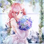 1girl blue_eyes blue_flower blue_rose bouquet closed_mouth detached_sleeves dress flower go-toubun_no_hanayome hair_between_eyes highres holding holding_bouquet long_hair long_sleeves nakano_miku pink_flower pink_hair purple_flower rose shiki_kayanotani sleeveless sleeveless_dress smile solo strapless strapless_dress upper_body wedding wedding_dress white_dress white_flower white_sleeves