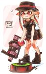 .52_gal_(splatoon) 1girl bangs black_footwear black_hair black_headwear black_shirt black_shorts blunt_bangs closed_mouth commentary curling_bomb_(splatoon) dated diagonal-striped_background diagonal_stripes domino_mask eighth_note gradient_hair gym_shorts harutarou_(orion_3boshi) hat hat_ribbon highres holding holding_weapon ink_tank_(splatoon) inkling leaning_forward mask multicolored_hair musical_note outside_border paint_splatter pink_background pointy_ears print_shirt redhead ribbon shirt shorts smile snake solo sparkle splatoon_(series) splatoon_2 spoken_musical_note standing striped striped_background t-shirt tentacle_hair weapon