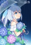 1girl bangs bare_shoulders blue_eyes blue_flower blue_ribbon blush character_request commentary_request copyright_name dress eyebrows_visible_through_hair flower hair_between_eyes hair_ornament hitsuki_rei holding holding_umbrella hydrangea looking_away off-shoulder_dress off_shoulder parted_lips pink_flower ponytail purple_flower purple_ribbon rain ribbon silver_hair snowdreams_-lost_in_winter- solo transparent transparent_umbrella umbrella white_dress