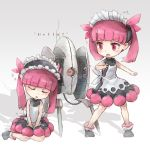 2girls character_request eyebrows_visible_through_hair facing_viewer kemurikusa kolshica looking_at_another maid maid_headdress multiple_girls parted_lips pink_eyes pink_hair portal_(series) seiza short_hair short_twintails sitting sleeping turret_(portal) twintails