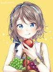 1girl :q apple basket blue_eyes blush bracelet commentary earrings food fruit grapes grey_hair hairband highres holding holding_basket holding_food holding_fruit jewelry licking_lips love_live! love_live!_sunshine!! makura_(makura0128) pear shirt short_hair sleeveless sleeveless_shirt solo tongue tongue_out twitter_username upper_body watanabe_you yellow_background