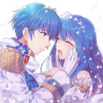 1boy 1girl awayuki_ramika bare_shoulders blue_eyes blue_hair blush bouquet bridal_veil bride closed_eyes couple dress elbow_gloves fire_emblem fire_emblem:_monshou_no_nazo fire_emblem_heroes flower formal gloves hair_flower hair_ornament husband_and_wife intelligent_systems jewelry long_hair love marth necklace nintendo open_mouth pegasus_knight rose sheeda short_hair simple_background smile strapless strapless_dress suit super_smash_bros. super_smash_bros_brawl tears tiara tuxedo veil wedding wedding_dress white_dress white_flower white_gloves