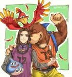 1girl 2boys animal banjo-kazooie banjo_(banjo-kazooie) bear belt bird blob brown_hair closed_eyes dragon_quest dragon_quest_xi feathers green_background green_eyes hair_intakes hero_(dq11) highres human jersey kamekomaru kazooie_(banjo-kazooie) layered_clothing looking_at_another microsoft multiple_boys nintendo orange_shirt outline purple_shirt rareware shirt shorts simple_background sleeveless sleeveless_shirt slime_(dragon_quest) sora_(company) square_enix super_smash_bros. super_smash_bros._ultimate toei_animation tooth_necklace white_outline yellow_shorts