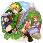 1girl 2boys blonde_hair blue_dress blue_eyes blue_sky boots brown_eyes brown_hair clouds dress egg gomi green_tunic harp instrument link marin_(the_legend_of_zelda) mountain multiple_boys mushroom rainforest sky tarin the_legend_of_zelda the_legend_of_zelda:_link's_awakening