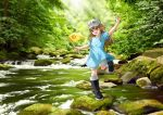 1girl artist_name black_footwear blue_shirt boots brown_eyes brown_hair child dated day english_commentary flag flat_cap forest hand_up hat hataraku_saibou holding holding_flag lilia_creative long_hair looking_at_viewer moss nature open_mouth outdoors platelet_(hataraku_saibou) rock rubber_boots shirt short_sleeves shorts signature smile solo standing standing_on_one_leg stream sunlight very_long_hair water white_headwear