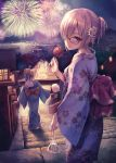 2girls aerial_fireworks ahoge architecture bag bagged_fish blonde_hair blue_eyes blue_kimono bow braided_bun candy_apple cotton_candy east_asian_architecture fate_(series) fireworks fish floral_print flower food glasses hair_flower hair_ornament japanese_clothes kimono lantern looking_back mash_kyrielight multiple_girls night night_sky obi ouka_(ra-raradan) outdoors paper_lantern red_bow sash sky stairs standing torii