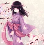 1girl bangs basilisk_(manga) black_hair blunt_bangs bug butterfly byuune cherry_blossoms closed_mouth eyebrows_visible_through_hair floating_hair flower hotarubi insect japanese_clothes kimono long_hair looking_at_viewer obi purple_kimono sash snake solo standing violet_eyes white_flower yukata