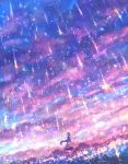 1girl arms_up clouds dutch_angle field flower flower_field lens_flare light_particles long_hair looking_up original purple_hair rain sakimori_(hououbds) scenery solo sparkle standing very_long_hair