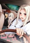 1boy 2girls :d black_jacket blush brown_hair collared_shirt dress_shirt driving drooling emiya_shirou fate/stay_night fate/zero fate_(series) grey_pants grey_shirt head_tilt highres illyasviel_von_einzbern irisviel_von_einzbern jacket long_hair long_sleeves mother's_day multiple_girls open_mouth pants red_eyes shirt sick silver_hair sitting smile spiky_hair tawagoto_dukai_no_deshi v-shaped_eyebrows white_shirt wing_collar