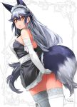 1girl alternate_costume animal_ears bare_shoulders closed_mouth commentary_request dated dress elbow_gloves enmaided fox_ears fox_tail gloves hair_between_eyes happa_(cloverppd) kemono_friends long_hair looking_at_viewer maid maid_dress maid_headdress silver_fox_(kemono_friends) silver_hair sleeveless sleeveless_dress solo tail thigh-highs white_gloves white_legwear yellow_eyes