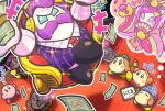 1boy 1girl channel_ppp crossed_legs facial_hair hinamatsuri japanese_clothes kirby kirby_(series) max_profitt_haltmann money mustache no_mouth official_art pink_hair purple_hair susie_(kirby) thought_bubble translation_request waddle_dee