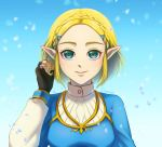1girl artist_name bangs black_gloves blonde_hair blue_jacket braid breasts commentary_request fingerless_gloves gloves green_eyes hair_ornament hairclip jacket long_sleeves looking_at_viewer medium_breasts parted_bangs pointy_ears princess_zelda sangachie short_hair smile solo the_legend_of_zelda the_legend_of_zelda:_breath_of_the_wild_2