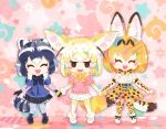 3girls animal_ears animal_print black_gloves black_skirt blonde_hair blunt_ends blush bow bowtie closed_eyes common_raccoon_(kemono_friends) dress_shirt elbow_gloves fennec_(kemono_friends) gloves holding_hands kemono_friends leopard_print milo multiple_girls open_mouth petals pleated_skirt ribbon serval_(kemono_friends) shirt short_hair skirt smile standing star sweater tail thigh-highs twitter_username white_footwear white_skirt