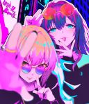2girls bangs blue_eyes blurry blurry_foreground blush eyebrows_visible_through_hair eyelashes eyewear_on_head green_eyes highres ichinose_shiki idolmaster idolmaster_cinderella_girls jewelry lazy_lazy_(idolmaster) lips long_hair long_sleeves miyamoto_frederica multiple_girls nail_polish ring round_eyewear ryuu. short_hair sunglasses tongue tongue_out zipper
