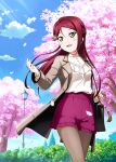 1girl :d artist_name blue_sky blush cherry_blossoms clouds coat cowboy_shot day floating_hair grey_coat hair_between_eyes ink_(pixiv25450915) long_hair love_live! love_live!_sunshine!! open_clothes open_coat open_mouth outdoors red_shorts redhead sakurauchi_riko shirt short_shorts shorts sky smile solo standing sunlight white_shirt yellow_eyes