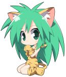 1girl animal_ear_fluff animal_ears animal_print bangs bare_shoulders blush cham_cham closed_mouth commentary_request eyebrows_visible_through_hair full_body gloves green_eyes green_hair hair_between_eyes long_hair looking_at_viewer osaragi_mitama paw_shoes print_footwear print_gloves samurai_spirits shoes simple_background sitting smile solo tail tiger_ears tiger_girl tiger_print tiger_tail very_long_hair wariza white_background yellow_footwear yellow_gloves