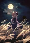 1girl arm_up black_skirt black_vest blonde_hair blurry bobby_socks clouds cloudy_sky cravat depth_of_field dise eyebrows_visible_through_hair finger_to_mouth full_moon hair_ribbon head_tilt highres leg_lift long_sleeves looking_at_viewer mary_janes moon night outdoors red_eyes red_footwear red_neckwear ribbon rumia scenery shirt shoes short_hair skirt sky socks solo standing standing_on_one_leg susuki_grass touhou vest white_legwear white_shirt wind wind_lift