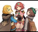 backpack bag bangs blonde_hair braid breasts brown_eyes brown_hair cape cardigan covered_navel crossover crown_braid dress earrings female_protagonist_(pokemon_swsh) fingerless_gloves gem gloves gonzarez green_headwear grey_cardigan hair_ornament hairclip hat headpiece highres homura_(xenoblade_2) jewelry long_sleeves looking_at_viewer open_mouth parted_bangs pink_dress pointy_ears pokemon pokemon_(game) pokemon_swsh princess_zelda red_eyes red_shorts redhead short_hair shorts shoulder_armor smile super_smash_bros. swept_bangs tam_o'_shanter the_legend_of_zelda the_legend_of_zelda:_breath_of_the_wild the_legend_of_zelda:_breath_of_the_wild_2 thick_eyebrows tiara xenoblade_(series) xenoblade_2
