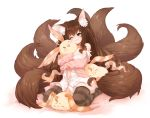 1girl animal_ear_fluff animal_ears black_legwear blush breasts brown_hair fox_ears fox_girl fox_tail green_eyes large_breasts long_hair maron_(pet) multiple_tails open_clothes open_mouth original pink_cardigan plushmallow rice365 solo striped striped_legwear tail thigh-highs twintails