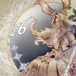 1girl animal_ears closed_mouth dress facing_viewer final_fantasy final_fantasy_xiv gloves grey_eyes high_collar highres long_hair looking_to_the_side official_art rabbit_ears sitting solo staff star viera watermark white_dress white_gloves white_hair