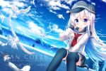 1girl anchor_symbol bird black_headwear black_legwear black_sailor_collar black_skirt blue_eyes blue_sky chinomaron clouds copyright_name day dutch_angle feet_out_of_frame flat_cap happy_birthday hat hibiki_(kantai_collection) highres kantai_collection long_hair long_sleeves looking_at_viewer neckerchief outdoors pleated_skirt red_neckwear sailor_collar school_uniform seagull serafuku silver_hair sitting skirt sky solo thigh-highs