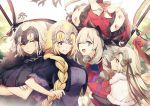 4girls ahoge blonde_hair blue_eyes braid cropped_jacket crossed_arms eyebrows_visible_through_hair fate/grand_order fate_(series) flag frown gloves hair_ornament hat headdress jeanne_d'arc_(alter)_(fate) jeanne_d'arc_(fate) jeanne_d'arc_(fate)_(all) jeanne_d'arc_alter_santa_lily long_hair marie_antoinette_(fate/grand_order) multiple_girls no-kan one_eye_closed open_mouth short_hair single_braid smile sweatdrop violet_eyes yellow_eyes