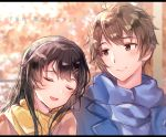 1boy 1girl :d ahoge azusagawa_sakuta bangs black_hair blue_jacket blue_scarf blurry blurry_background blush brown_eyes brown_hair brown_jacket closed_eyes closed_mouth depth_of_field eyebrows_visible_through_hair gyozanuko hair_between_eyes hair_ornament hairclip highres jacket letterboxed open_mouth sakurajima_mai scarf seishun_buta_yarou smile translation_request yellow_scarf