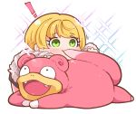 ! 1girl bangs biting black_skirt blonde_hair blush chibi eyebrows_visible_through_hair eyelashes fur_sweater gen_1_pokemon green_eyes idolmaster idolmaster_cinderella_girls long_sleeves lying lying_on_another miyamoto_frederica motion_lines nostrils on_stomach open_mouth pokemon pokemon_(creature) shiny shiny_hair short_hair sidelocks simple_background skirt slowpoke smile sparkle striped striped_sweater sweater swept_bangs tail tail_biting takatoo_kurosuke white_background white_sweater