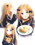 1girl abigail_williams_(fate/grand_order) bangs belt black_bow black_dress black_jacket blonde_hair blue_eyes blush bow closed_mouth dress eating fate/grand_order fate_(series) food forehead hair_bow happiness_lilys heroic_spirit_traveling_outfit high_collar holding holding_stuffed_animal jacket long_hair long_sleeves looking_at_viewer multiple_views object_hug open_mouth orange_bow parted_bangs plate simple_background sleeves_past_fingers sleeves_past_wrists stuffed_animal stuffed_toy teddy_bear white_background