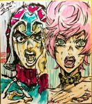 1boy 1girl argyle argyle_sweater ashiya_kouhei black_eyes check_commentary choker commentary_request green_eyes guido_mista hand_on_own_cheek hat highres jojo_no_kimyou_na_bouken kimi_no_na_wa. lipstick makeup marker_(medium) parody pink_hair pink_nails shikishi short_hair signature sweat sweater traditional_media trish_una vento_aureo