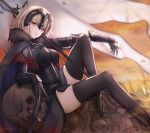 1girl ahoge armor armored_dress bangs black_dress black_legwear breasts cape chain commentary_request dress eyebrows_visible_through_hair fate/grand_order fate_(series) flag fur-trimmed_cape fur_collar fur_trim gauntlets headpiece highres jeanne_d'arc_(alter)_(fate) jeanne_d'arc_(fate)_(all) large_breasts reclining revision short_hair silver_hair skull smile_(dcvu7884) solo sword thigh-highs tsurime weapon yellow_eyes yellow_sky