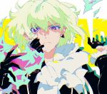 1boy black_gloves black_jacket blonde_hair cravat earrings fire gloves green_hair half_gloves jacket jewelry kibatteko_ze lio_fotia male_focus promare violet_eyes