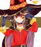 1girl alto2019 black_gloves black_headwear brown_hair collar collarbone eyepatch fingerless_gloves gloves hat kono_subarashii_sekai_ni_shukufuku_wo! long_hair long_sleeves looking_at_viewer marker_(medium) megumin open_mouth red_eyes red_shirt sample shiny shiny_hair shirt solo traditional_media upper_body witch_hat