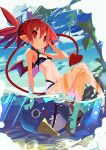 1girl absurdres bikini black_bikini breasts demon_tail disgaea etna flat_chest highres holding looking_at_viewer makai_senki_disgaea miyakawa106 ocean partially_submerged prinny red_eyes redhead short_twintails sketch small_breasts smile swimsuit tail twintails wet