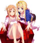 2girls abec alice_schuberg asuna_(sao) bare_legs barefoot dress feet golden highres multiple_girls resized sword_art_online sword_art_online_alicization upscaled white_background white_legwear