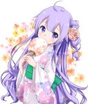 1girl ahoge azur_lane bangs commentary_request covered_mouth eyebrows_visible_through_hair fan floral_background floral_print flower hair_between_eyes hair_bun hair_flower hair_ornament holding japanese_clothes kimono long_hair long_sleeves obi one_side_up paper_fan pink_flower pink_rose print_kimono purple_hair rose sash side_bun solo sukireto uchiwa unicorn_(azur_lane) very_long_hair violet_eyes white_background white_kimono wide_sleeves yellow_flower yukata