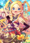 1girl :d bangs bare_shoulders blonde_hair blue_eyes blue_sky blurry blurry_foreground blush breasts bridal_gauntlets building clouds commentary_request day depth_of_field field fingernails flower flower_field forehead hair_ornament hand_on_hip highres ikari_(aor3507) japanese_clothes kimono long_hair nail_polish obi open_mouth original outdoors outstretched_arm parted_bangs pointing red_kimono red_nails sash sky sleeveless sleeveless_kimono small_breasts smile solo standing tree twitter_username two_side_up v-shaped_eyebrows very_long_hair yellow_flower