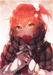 1girl absurdres brown_scarf closed_mouth eyebrows_visible_through_hair fate/grand_order fate_(series) fujimaru_ritsuka_(female) hair_bobbles hair_ornament highres holding long_sleeves looking_at_viewer marei_(mercy) one_side_up orange_hair plaid plaid_scarf ribbon scarf shiny shiny_hair short_hair smile solo upper_body white_ribbon yellow_eyes