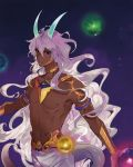 1boy arjuna_(berserker)_(fate) black_eyes bracelet chest choker collarbone dark_skin dark_skinned_male eyebrows_visible_through_hair fate/grand_order fate_(series) gold_bracelet hair_between_eyes highres horns jewelry lizard_tail long_hair looking_at_viewer male_focus my-cooma navel pants parted_lips shirtless solo tail tattoo teeth white_hair white_pants