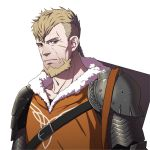 arm_guards bangs beard belt belt_buckle braided_tail brown_eyes brown_hair buckle commentary facial_hair fire_emblem:_fuukasetsugetsu fur_collar jeralt_(fire_emblem:_fuukasetsugetsu) kurahana_chinatsu looking_at_viewer official_art pauldrons scar short_hair undercut upper_body