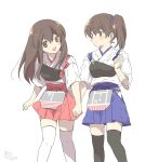 2girls akagi_(kantai_collection) apron black_legwear blue_skirt brown_eyes brown_hair cowboy_shot hakama_skirt highres holding_hands kaga_(kantai_collection) kantai_collection koge_donbo long_hair looking_at_another multiple_girls muneate red_skirt side_ponytail simple_background skirt straight_hair tasuki thigh-highs white_background white_legwear