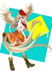 1girl boots brown_hair highres multicolored_hair niwatari_kutaka red_eyes redhead short_hair user_xruh5223 wily_beast_and_weakest_creature wings