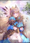 +_+ 1girl animal_ear_fluff animal_ears armor blurry blurry_background commission elin_(tera) feathers fox_ears hands_together helmet knight large_tail long_hair looking_at_viewer outdoors plushmallow_(elin) srinitybeast tail tera_online violet_eyes watermark