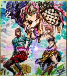 1girl 2boys animal_print argyle argyle_sweater ashiya_kouhei black_eyes black_lipstick boots choker colosseum diavolo green_eyes guido_mista gun handgun hat highres jojo_no_kimyou_na_bouken jojo_pose kimi_no_na_wa. lipstick long_hair makeup marker_(medium) midriff multiple_boys parody pink_hair pink_nails pistol pose revolver shikishi short_hair signature skirt stamp sweat sweater tiger_print traditional_media translated trish_una undressing vento_aureo weapon